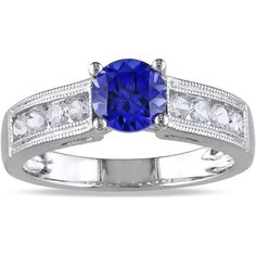Miadora Sterling Silver Created Sapphire Engagement Ring ($42) ❤ liked on Polyvore featuring jewelry, rings, blue, engagement rings, round engagement rings, sterling silver band rings, sterling silver engagement rings and band rings