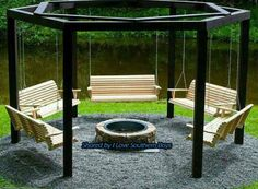 This is it...Swings around the fire pit!!! maybe change one or two of the swings into a pallet bed swing... I can't wait!!! Bring the smores