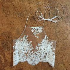 Tops - white lace mesh bralette & crop top
