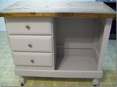 desk into kitchen island