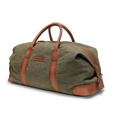 DRAKENSBERG Kimberley Duffel Weekender, large travel bag, holdall, carry-all, canvas, buffalo leather, safari-style, olive green, brown