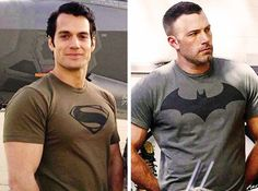 Henry Cavill and Ben Affleck - Superman and Batman - Amancanfly ((my new crush and old crush - aaahhhhhh))