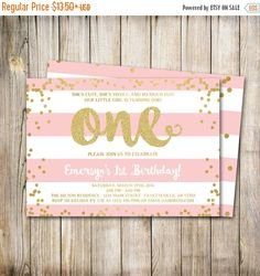30% OFF WEEKEND SALE First Birthday Invitation, 1st Birthday Invitation, Birthday Invite, Pink and Gold, Blush Pink, Gold Glitter, Printable by ThePaperTrailCo on Etsy https://www.etsy.com/listing/261750459/30-off-weekend-sale-first-birthday