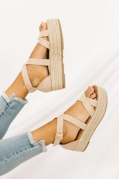 10 Sandals That You Can Wear To The Office This Summer - As the weather gets warmer, it gets harder to justify wearing closed-toed work shoes. You may want to reach for the classic summer sandal, but don& Espadrille Sandals, Shoes Sandals, Espadrilles, Heels, Wedge Sandals Outfit, Office Sandals, Flats, Strappy Sandals, Cute Shoes