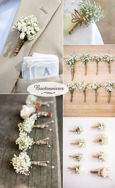 baby's breath boutonnieres for rustic wedding ideas Rustic Wedding Boutonniere, Country Wedding Bouquets, Rustic Wedding Groomsmen, Cheap Flowers For Wedding, Rustic Wedding Table Decorations, Rustic Wedding Games, Cheap Country Wedding, Vintage Boutonniere, Wedding Boquette