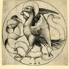 Martin Schongauer Symbols of the Four Evangelists The Eagle of St John Engraving German c1469-79 87mm dia