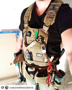 ・・・ Trying out my birthday present, So far so good! Comfortable, convenient, and quick access to everything I need for the job. That screw gun holster, tho. Tool Apron, Bandana, Work Belt, Chest Rig, Work Jeans, Gun Holster, Cool Tools, American Made, Different Styles