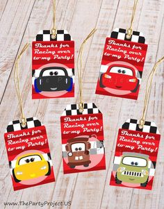 "Cutest Cars 3 printables tags! DIY tags for a Cars birthday party! They read ""Thanks for racing over my party"" and each tag features a different Cars 3 character including Cruz Ramirez and Jackson Storm!"