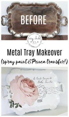 French Rose Decal Tray Makeover - Decorating - This pretty French rose decal was the perfect addition to this old metal thrift store tray! Silver Tray Decor, Silver Trays, Silver Platters, Thrift Store Crafts, Crafts To Sell, Diy Crafts, Painted Trays, Style At Home, Metal Trays