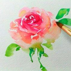 Ideas For Flowers Painting Easy Watercolor Techniques Simple Watercolor Flowers, Watercolor Flowers Tutorial, Easy Watercolor, Watercolour Tutorials, Watercolor Cards, Flower Tutorial, Floral Watercolor, Simple Watercolor Paintings, Painting Flowers