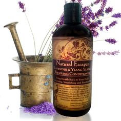 Natural Escapes Lavender & Ylang Ylang Repairing Conditioner is an organic blend of botanicals, moisturizers and proteins that build stronger hair and a healthy scalp. This gentle conditioner gently de-tangles, makes hair incredibly soft, and controls frizz while providing nutrients, vitamins, and antioxidants that boost shine, increases manageability, and protects hair during heat styling.