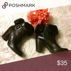 "C&B Leather Boots Leather upper and faux fur trim. Features an Inside zipper closure and outside silver buckle. They can be worn folded down with the faux fur showing it as an ankle boot with all the leather exposed. 3"" chunky heel. EUC. croft & barrow Shoes Ankle Boots & Booties"