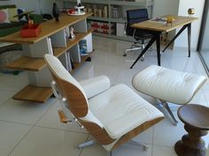 Lounge Chair Charles & Ray Eames, 1956 /  Compas Direction (desk) Jean Prouvé, 1953 /  Planophore (bookshelf) Edward Barber & Jay Osgerby, 2014