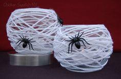 Ideia de DECORAÇÃO: Potes de teia de aranha.