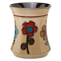Ashbury Full-Size Scentsy Warmer PREMIUM - Retro, color-blocked daisies add bohemian style to a classic shape in natural taupe.