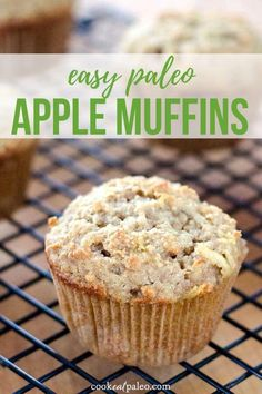 These paleo apple muffins are so easy to make! Meal prep on the weekend and freeze for quick breakfasts and snacks. Gluten-free grain-free with a dairy-free option. Paleo Apple Recipes, Paleo Muffin Recipes, Flour Recipes, Keto Recipes, Easy Apple Muffins, Healthy Apple Cinnamon Muffins, Cinnamon Apples, Grain Free, Dairy Free