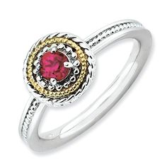 Sterling Silver & 14k Stackable Expressions Sterling Silver Created Ruby Ri