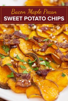 Thanksgiving-style nachos: Crispy sweet potato chips topped with pig candy (AKA bacon). Crispy Sweet Potato Chips, Candied Sweet Potatoes, Sweet Potato Recipes, Party Recipes, Appetizer Recipes, Appetizers, Thanksgiving Drinks, Thanksgiving Side Dishes, Holiday Foods