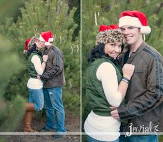 Christmas Engagement Session - yeah, that would totally be me in the leopard hat lol