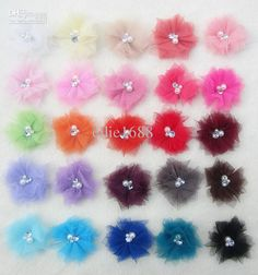 Wholesale Mesh Flowers - Buy 2.5'' Tulle Mesh Flowers With Rhinestone Pearl Dress Flower Mini Flower Headband Mix Colors 50pcs, $0.61 | DHgate