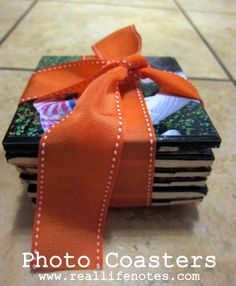 Easy DIY tile photo coasters, great Father's Day gift!