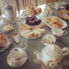 AFTERNOON TEA: Afternoon tea is quintessentially British, and has a real sense of occasion.  It can be served as a decadent sit-down event, or as a self-serve, relaxed occasion. #afternoontea #hightea #vintage #mismatched #crockery #scones #tea #wedding #babyshower #henparty