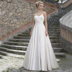 Simple Sexy Sweetheart Wedding Dresses Cheap 2017 Lace Applique Pleat A Line Satin Vestidos De Novia Milla nova Bridal Gowns