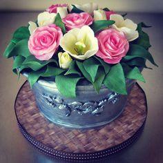 Beautiful Image of Birthday Cake Birthday Cake Rose Amp Tulip Bucket Birthday Cake Cakecentral