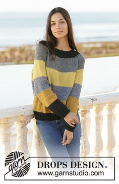 Bee stripes / DROPS - free knitting patterns by DROPS design Knitted pullover with stripes in DROPS Sky. The piece is knitted with raglan from top to bottom. Sizes S - XXXL. Jumper Knitting Pattern, Knitting Patterns Free, Knit Patterns, Free Knitting, Free Pattern, Drops Design, Ropa Free People, Laine Drops, Crochet Design