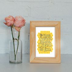 Typography Art Print - How Sweet It Is - James Taylor love song lyrics golden sweet honeycomb and bee gift for men or women under 25 by LiltAndMagic on Etsy