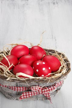 Photo about Traditional red and dotted Easter eggs in gray basket on rustic wood background. Image of copy, easter, basket - 66202759 Eggs In A Basket, Easter Egg Basket, Easter Eggs, Rustic Wood Background, Orthodox Easter, Easter Wallpaper, Greek Easter, Easter Wishes, Easter Colors
