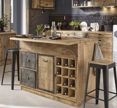 Central kitchen island in solid mango wood and gray metal - Central island in solid mango wood and gray metal Melchior Kitchen Base Units, Stools For Kitchen Island, Modern Kitchen Island, Kitchen Tops, Rustic Kitchen, New Kitchen, Kitchen Dining, Kitchen Decor, Kitchen Cart