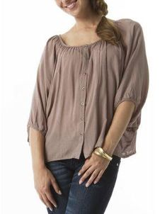 (CLICK IMAGE TWICE FOR DETAILS AND PRICING) Lady Gwen Dolman Sleeve Blouse Taupe. A loose fitting shirt that features dolman sleeves and button through detail. Pair with jeans and sandals for an easy but classy look.. See More Tops at http://www.ourgreatshop.com/Tops-C74.aspx