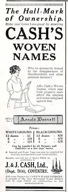 1922 ad: Cash's Woven Names