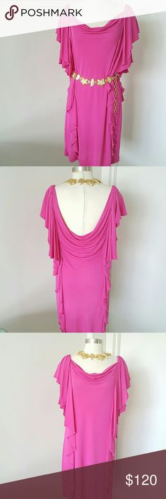 """Diane von Furstenberg Pink Party Dress 100% authentic dress from Diane von Furstenberg this is her signature style , feminine and chic, ruffles detailing, back open and can be wear with belt or without, unlined and this belt doesn't include. 85% viscose 15% polyamide.  Measurements are length 36"""" bust 38"""" hips 40"""" Diane von Furstenberg Dresses Asymmetrical"""