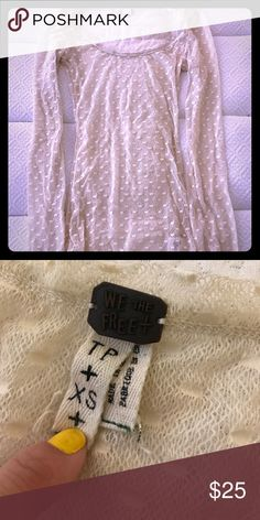Free People cream sheer dot shirt sz XS Free People cream sheer dot shirt sz XS. Black shirt shown for reference only. Free People Tops Tees - Long Sleeve