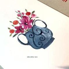 Watercolor Art Lessons, Watercolor Paintings For Beginners, Watercolor And Ink, Watercolor Flowers Tutorial, Diy Canvas Art, Flower Art, Grunge Nails, Team Member, Interior Paint
