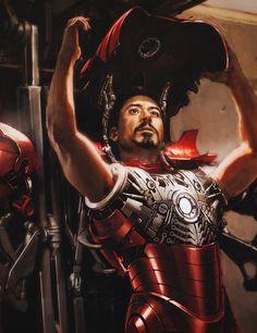 Iron Man Tony putting on the Iron Man suit, concept art. Marvel Comics, Marvel Art, Iron Man Fan Art, Iron Man Cartoon, Tony And Pepper, Dragon Ball, Wolf Spirit Animal, Iron Man Tony Stark, Marvel Characters