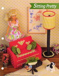 SITTING PRETTY FASHION DOLL FURNITURE LOVE SEAT LAMP PLASTIC CANVAS PATTERN ONLY #ANNIESFASHIONDOLLPCCANVASCLUBBINDER