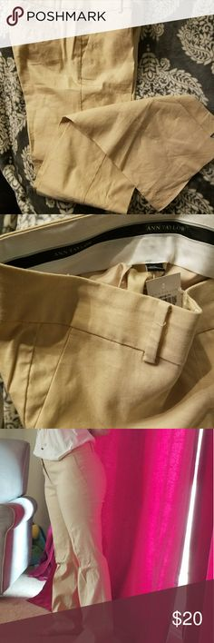 NWT Ann Taylor trousers 58 %Linen 40% cotton 2% spandex blend trousers. Ann Taylor size 6. Perfect for the summer in the office. NWT tan. Pockets still sewn shut. Ann Taylor Pants Trousers