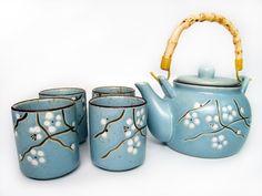 Plum Tree Design Ceramic Tea Set