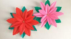【折り紙】プリンセチア、ポインセチア Princettia, Poinsettia - YouTube