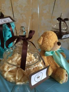 Candy buffet - blue white brown. It's a boy baby shower party