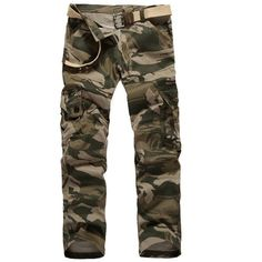 Straight Leg Camouflage Military Army Cargo Pants ($29) ❤ liked on Polyvore featuring men's fashion, men's clothing, men's pants, men's casual pants, mens straight leg cargo pants, mens cargo pants, mens camo cargo pants, mens camouflage cargo pants and mens camo pants
