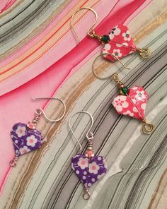 Hearts and Flowers Origami Earrings by PaperGirlinCT on Etsy
