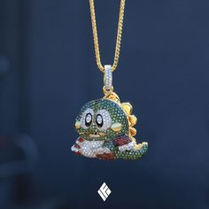 "Gold Chain Men Solid Yellow Gold Milli-Sized ""Bubble Bobble Bub"" Pendant, Fully Iced Out With VS White Diamonds, Green Diamonds and Orange Sapphires. Chain Pendants, Pendant Jewelry, Gold Jewelry, Jewelery, Jewelry Necklaces, Bracelets, Luxury Jewelry, Custom Jewelry, Minions"