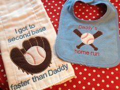 Funny baby boy baseball bib and burp cloth set