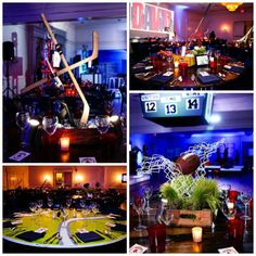Sports themed centerpieces....REAL BAR MITZVAH...Boston Strong in Bethesda - Party Favorites - Event Planning Resource