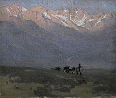 """Sierra Sunrise,"" Edgar Payne, oil on canvas, 20 x Joseph Raphael Gallery. Western Landscape, Landscape Art, Landscape Paintings, Edgar Payne, Paintings I Love, Tree Paintings, Impressionist Artists, Southwest Art, Environment Concept Art"