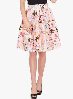 Buy Sassafras Pink Silk Flared Printed Skirt online 332251782